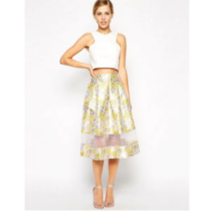 ASOS jacquard pleated skirt with sheer panel